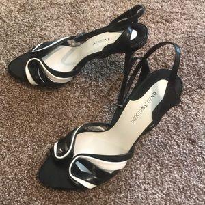 Vintage SEXY black & white strappy heels